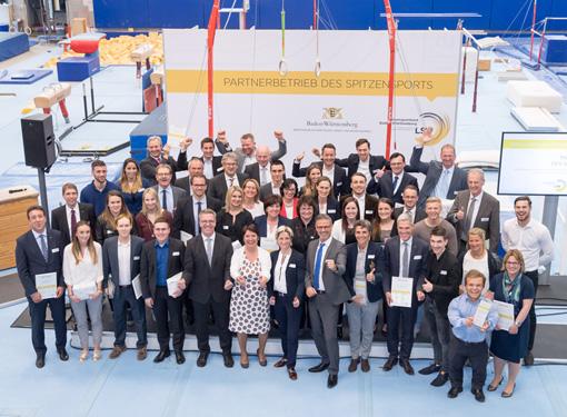 Landessportverband und das Ministerium für Wirtschaft, Arbeit und Wohnungsbau zeichneten 21 Unternehmen der Initiative Partnerbetrieb des Spitzensports aus