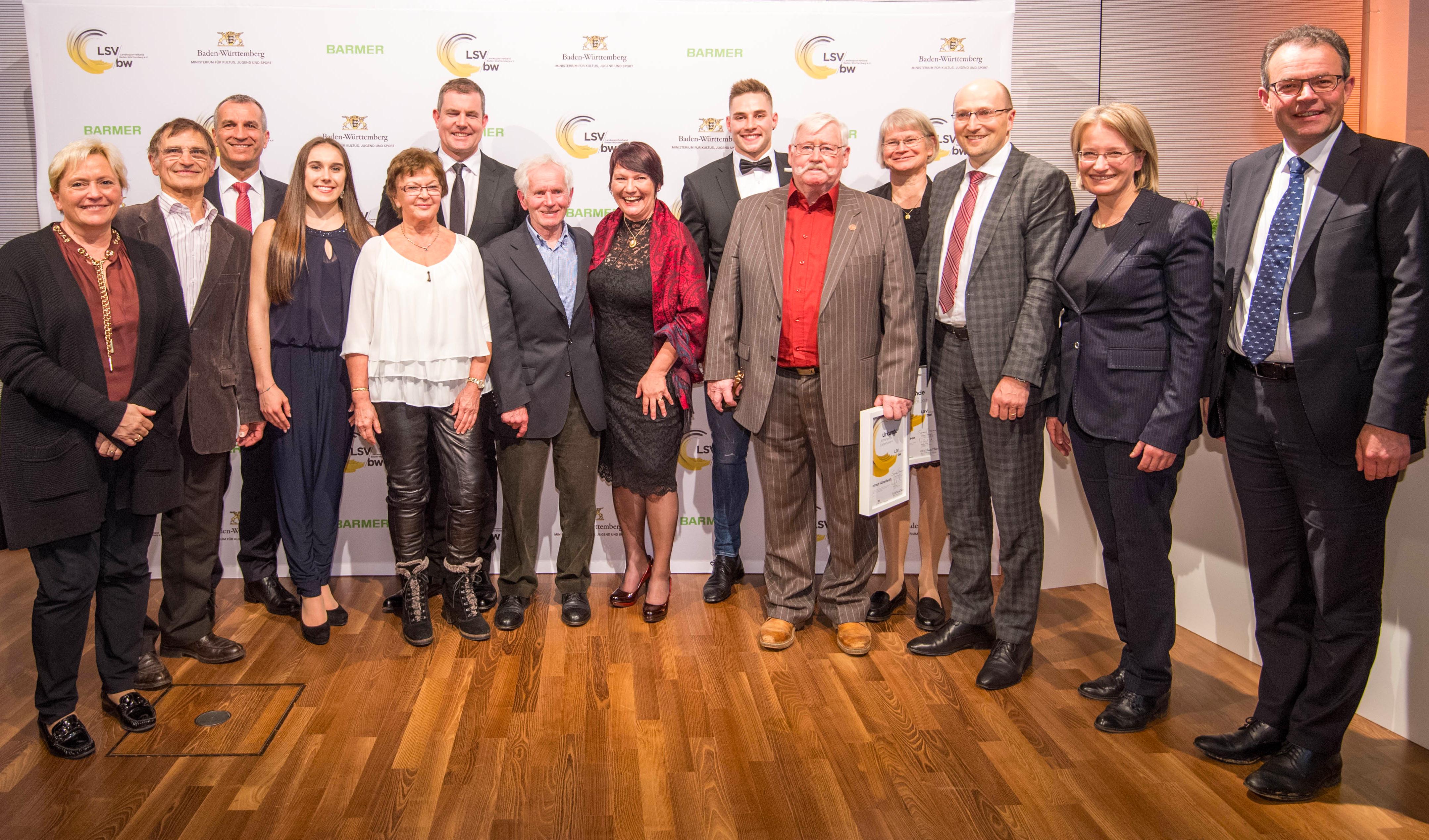 Preisträger und Laudatoren vom Trainerpreis Baden-Württemberg 2017